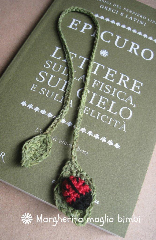 Segnalibro coccinella in puro cotone fatto a mano all'uncinetto - idea regalo!