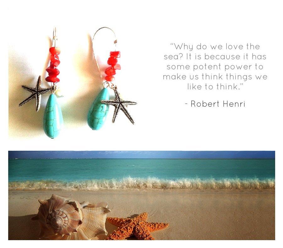 """Orecchini """"Starfish"""" corallo rosso, turchese, perlina e stella di mare"""