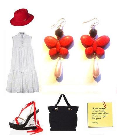 """Orecchini """"Red butterfly"""" farfalla turchese rosso, perla bianca, vetro nero"""