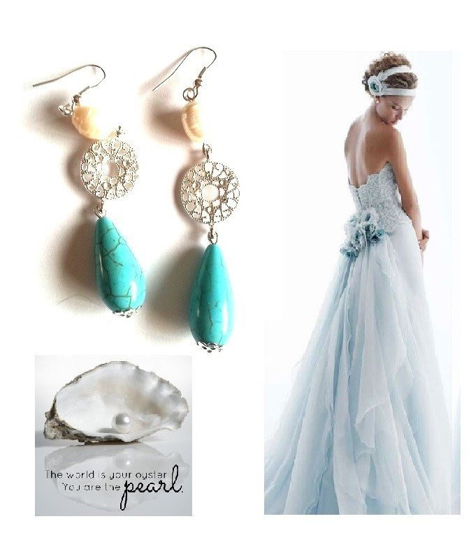 """Orecchini """"Simply be"""" perla di fiume bianca, turchese blue e metallo argentato"""