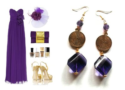 "Orecchini ""Violet golden glass"" vetro e cristallo viola, elemento dorato"