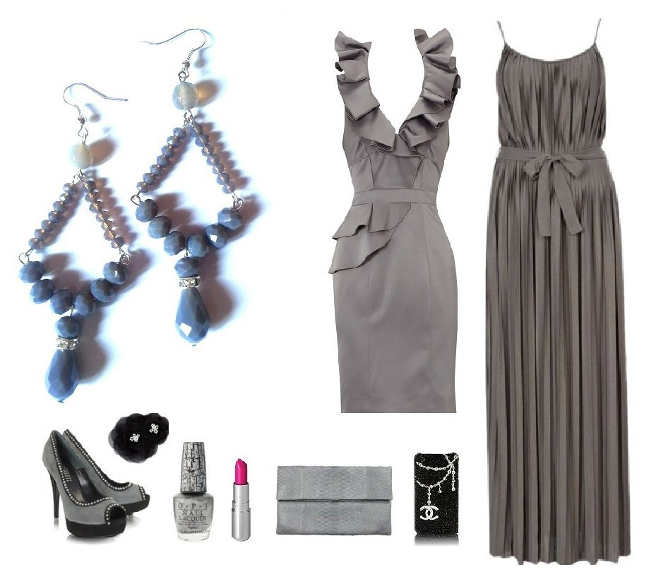 """Orecchini """"Grey crystals"""" con swarovski, vetro e agata color grigio"""