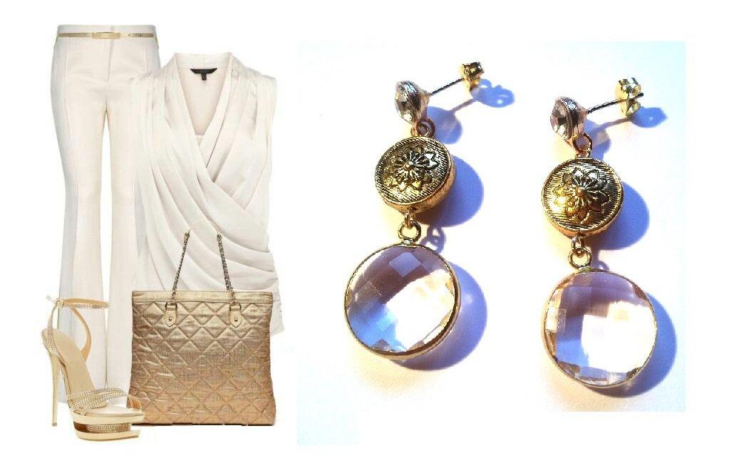 """Orecchini """"Crystal gold"""" cristallo trasparente e metallo dorato"""