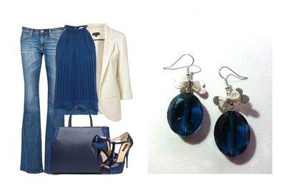 """Orecchini """"Blue bow"""" con cristallo blu semitrasparente e fiocco color argento"""
