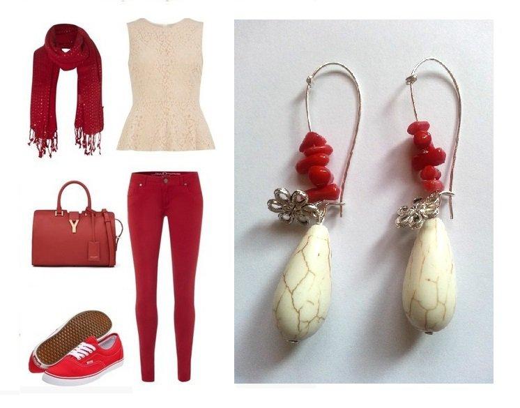 """Orecchini """"Flower"""" corallo rosso, turchese bianco e fiore argentato"""