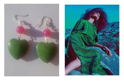 """Orecchini """"Green heart"""" cuore in turchese verde e agata rosa fucsia"""