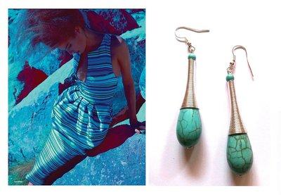 """Orecchini """"Tuquoise wire"""" con turchese blu e metallo argentato"""