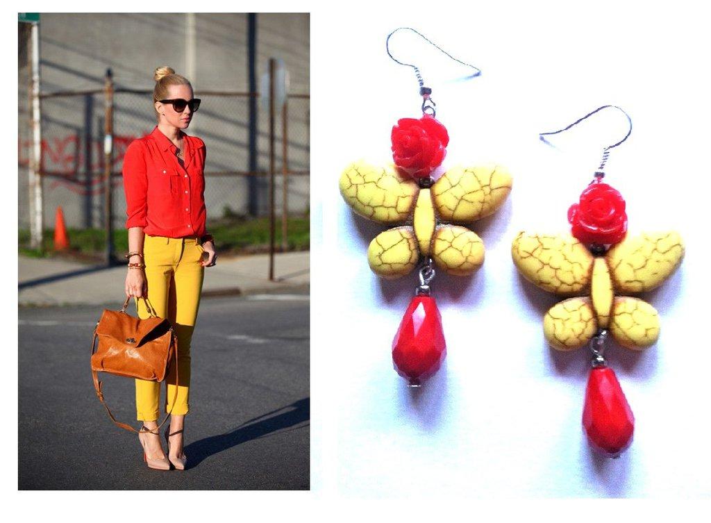 """Orecchini """"Yellow butterfly"""" farfalla turchese gialla, rosa e cristallo rossi"""