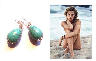 """Orecchini """"Simply tuquoise"""" con turchese blu e cristallo"""