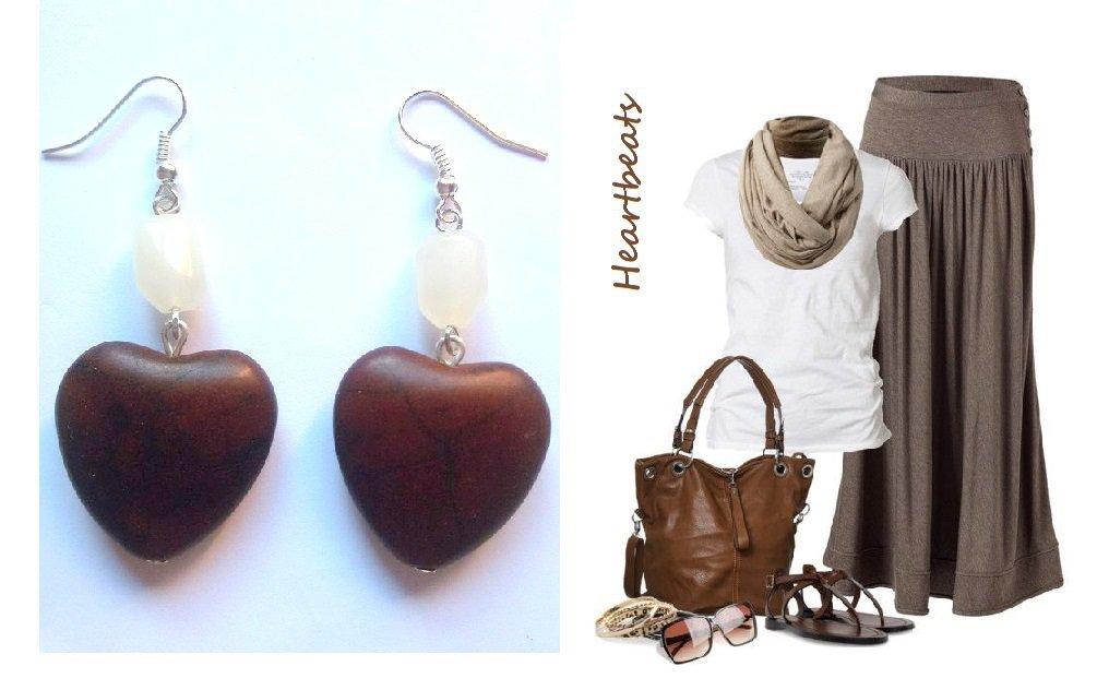 """Orecchini """"Brown heart"""" cuore in turchese marrone scuro e quarzo bianco"""