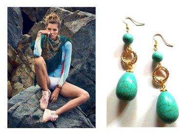"""Orecchini """"Golden turquoise"""" con goccia di turchese blu e oro"""
