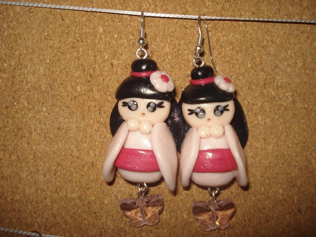 Orecchini con kokeshi