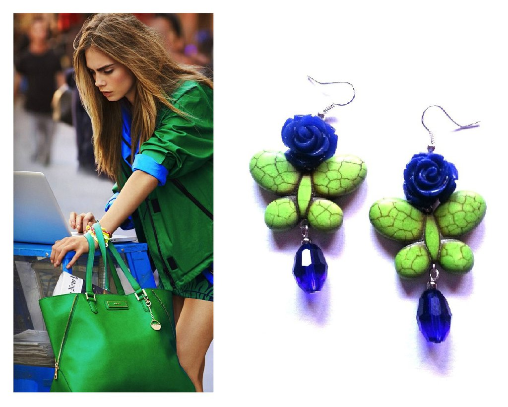 """Orecchini """"Green butterfly"""" farfalla turchese verde, rosa e vetro blu"""