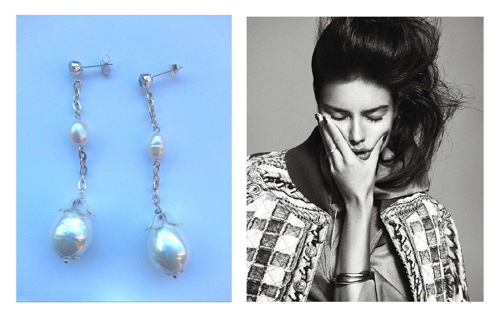 """Orecchini """"Pearl drops"""" argentati lunghi con perle barocche e di fiume bianche"""