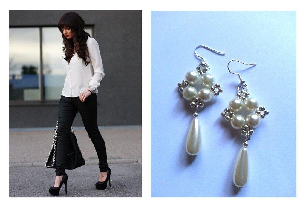 """Orecchini """"Starry white"""" argentati con perle bianche"""