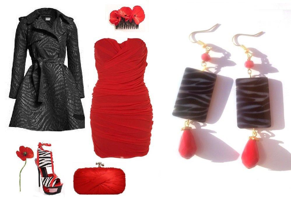 "Orecchini ""Zebra red"" madreperla nero & bianco zebrato e cristalli rossi"
