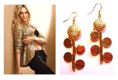 """Orecchini """"Golden roses"""" con elementi metallici dorati (oro platino)"""