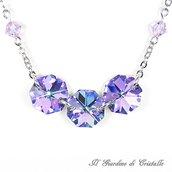 Collana con ottagoni Preciosa e cristalli Swarovski viola fatta a mano – Pervinca