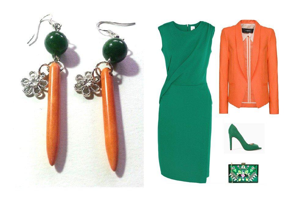 """Orecchini """"Orange green lines"""" con turchese color arancione, agata verde, fiore"""
