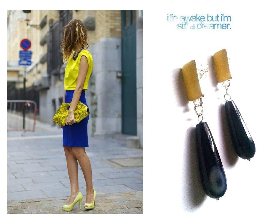 """Orecchini """"Yellow blue drop"""" con goccia di agata sfacetato blu e giallo"""