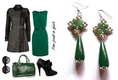 "Orecchini ""Starry green jade"" con giada e agata verde"