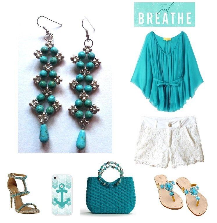 """Orecchini """"Starry turquoise"""" argentati lunghi con perline di turchese"""