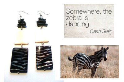 """Orecchini """"Zebra"""" madreperla nero & bianco"""