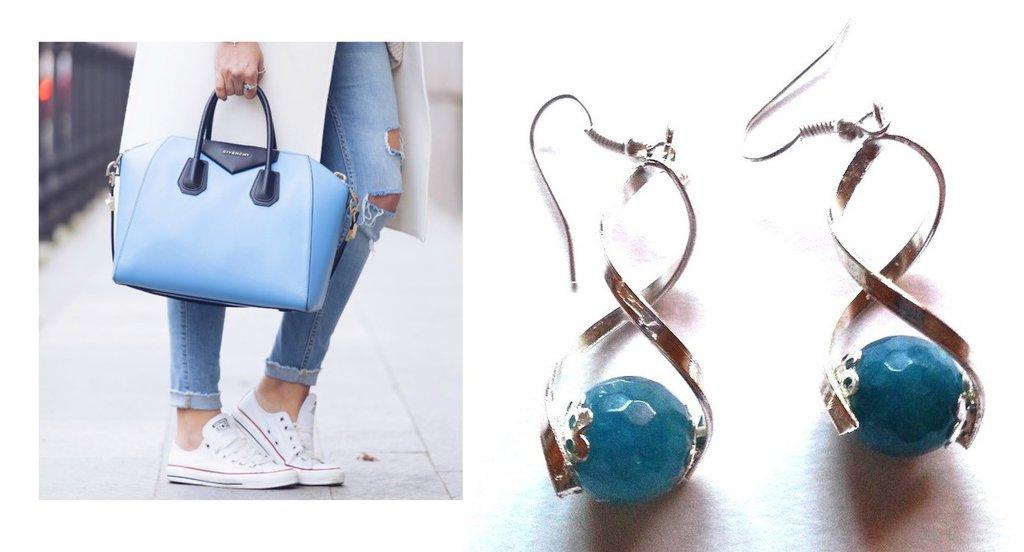 """Orecchini """"Zig zig agata"""" con metallo color argento ed agata blue"""