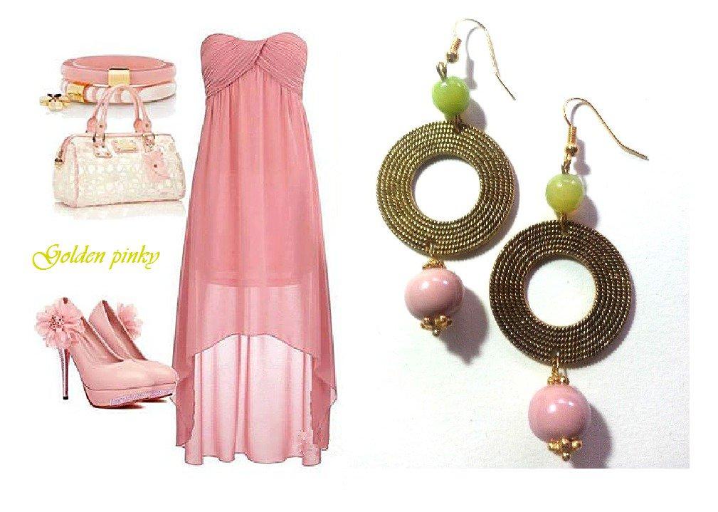 """Orecchini """"Golden pink"""" agata verde lime, perla in ceramica rosa ed elemento dorato"""