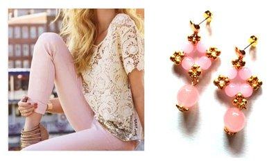 """Orecchini """"Starry mono pink"""" quarzo rosa ed elementi dorati"""