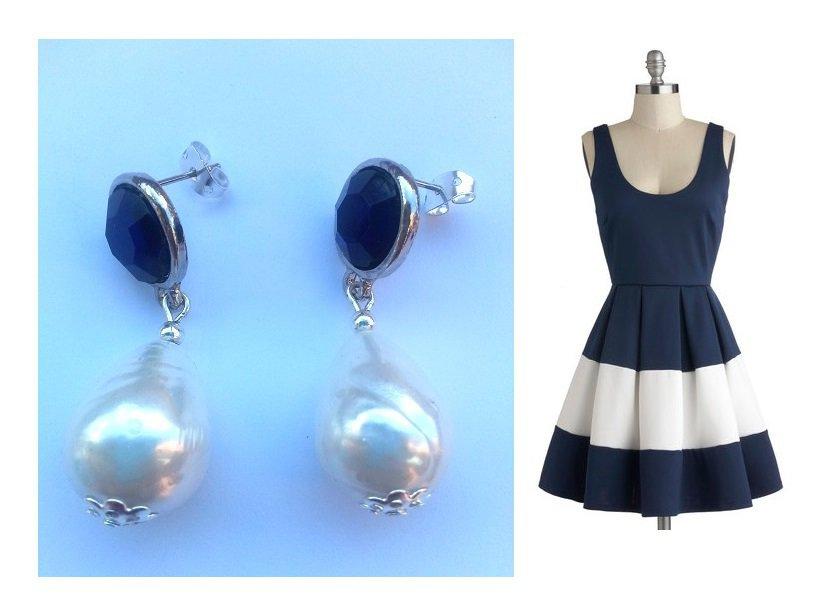 """Orecchini """"Blue pearls"""" con perle barocche e cristallo blu in resina"""
