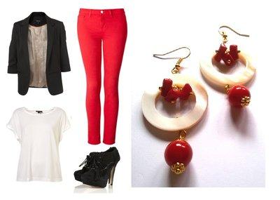 """Orecchini """"Red & white"""" madreperla bianca e corallo"""