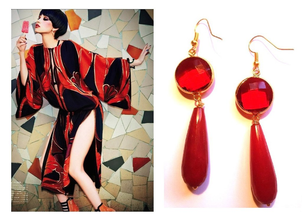 """Orecchini """"Crystal red drop"""" giada e cristallo rosso"""