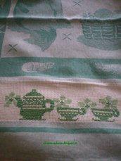 asciuga piatti misto lino ricamato a punto croce