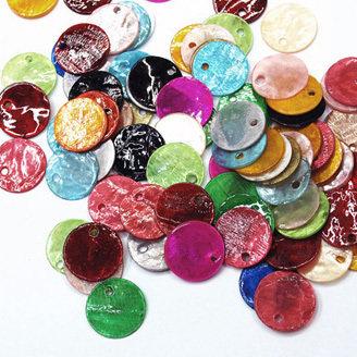 Lotto 10 zecchini pendenti tondi in madreperla 13mm. colori assortiti