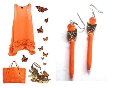 """Orecchini """"Orange butterfly lines"""" con turchese color arancione, occhio di gatto & farfall"""