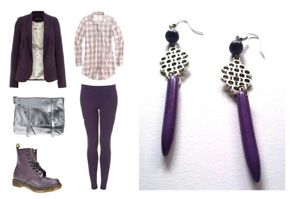 """Orecchini """"Purple silver lines"""" con turchese viola ed elemento argentato"""