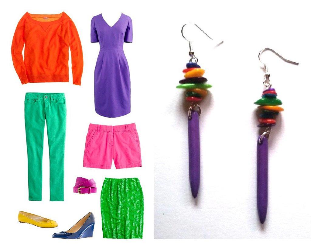 """Orecchini """"Purple coloured lines"""" con turchese viola e chips di madre perla colorati"""