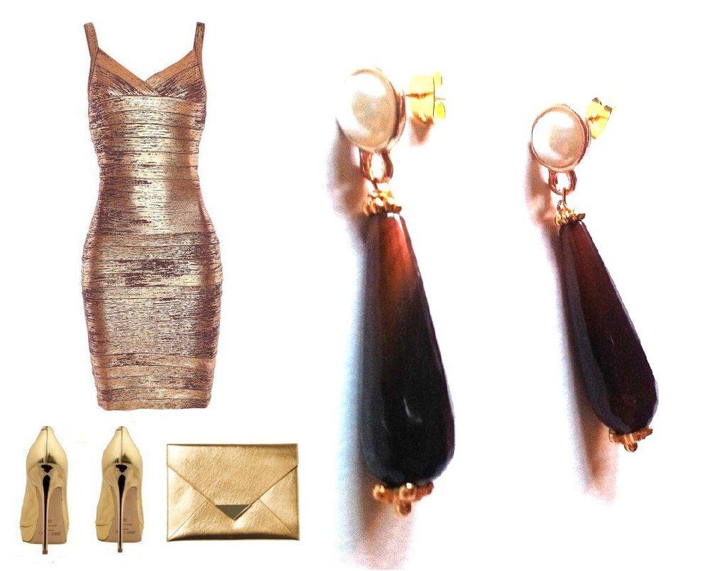 """Orecchini """"Pearl brown drop"""" con goccia di agata sfacetata marrone e perla"""