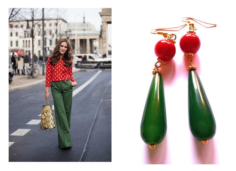 "Orecchini ""Red green drop"" giada verde e pietra dura rossa"