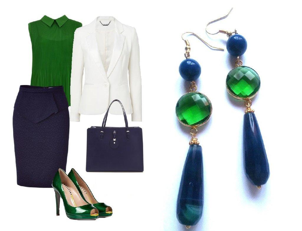 """Orecchini """"Crystal blue drop"""" agata blu e cristallo verde"""