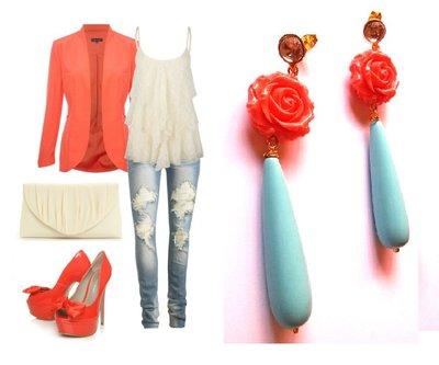 """Orecchini """"Blue rose drops"""" con goccia di turchese, rosa e cristallo"""