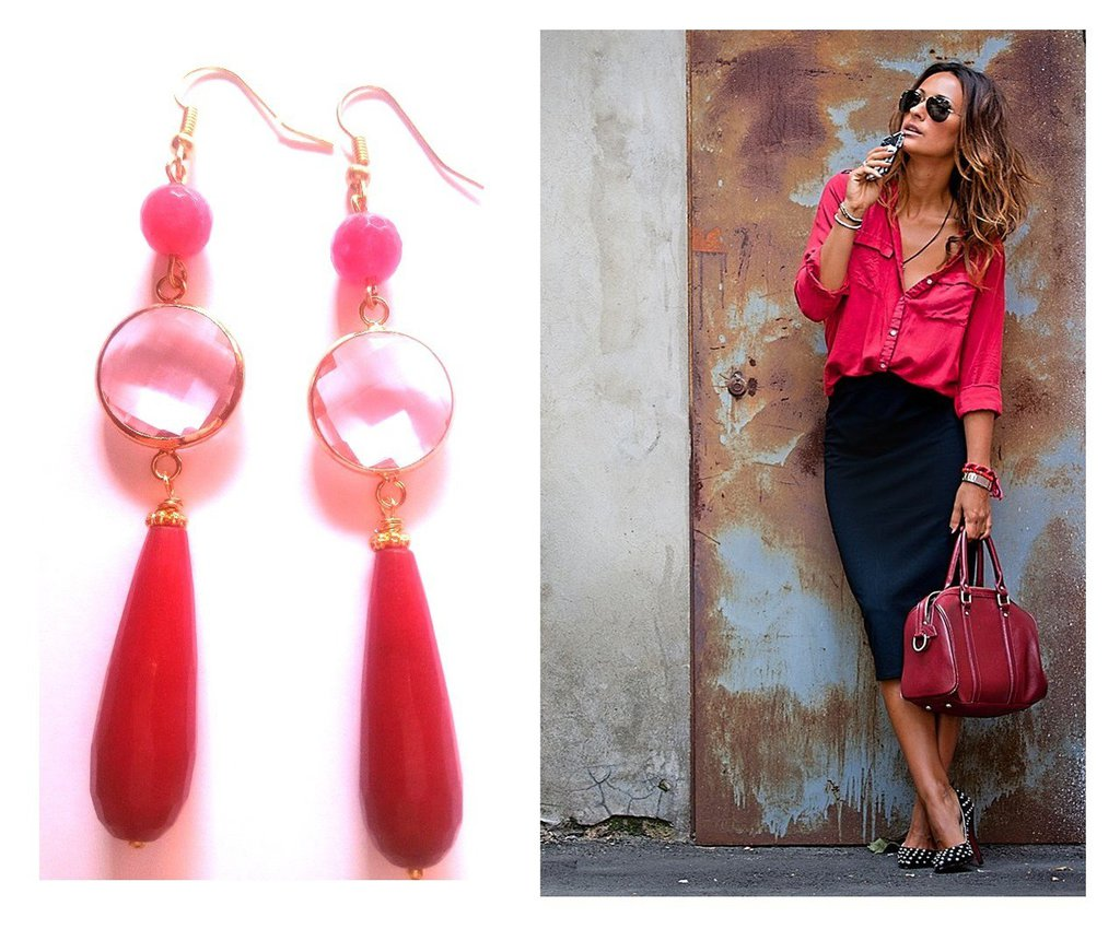 "Orecchini ""Crystal pink drop"" giada rosa/rossa e cristallo rosa"