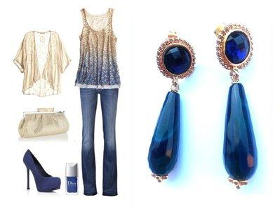 """Orecchini """"Crystal blue drop"""" con goccia di agata sfacetato blu e cristallo in resina blu"""