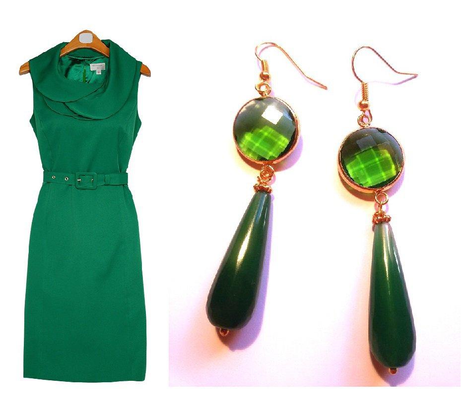"""Orecchini """"Crystal green drop"""" giada e cristallo verde"""