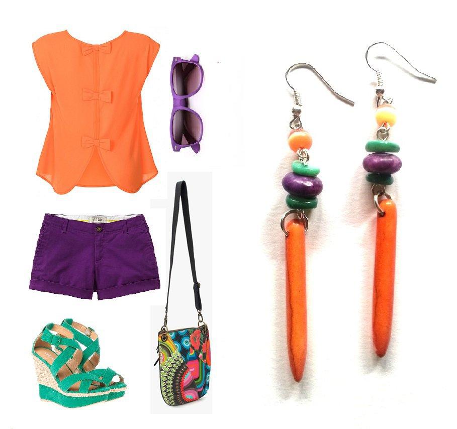 """Orecchini """"Orange colored lines"""" con turchese arancione e viola, madre perla verde, occhio di gatto"""