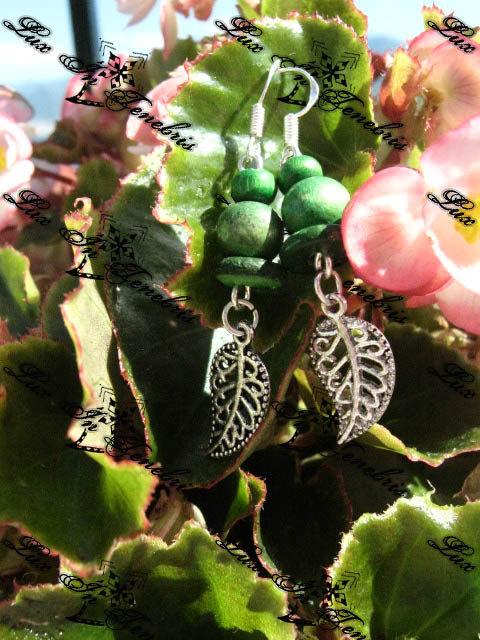 orecchini legno verdi