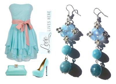 """Orecchini """"Starry blue"""" argentati lunghi con agata blu"""
