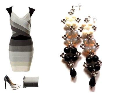 """Orecchini """"Starry ombre black"""" perle bianche, agata grigia, onice nero ed elementi argentati"""