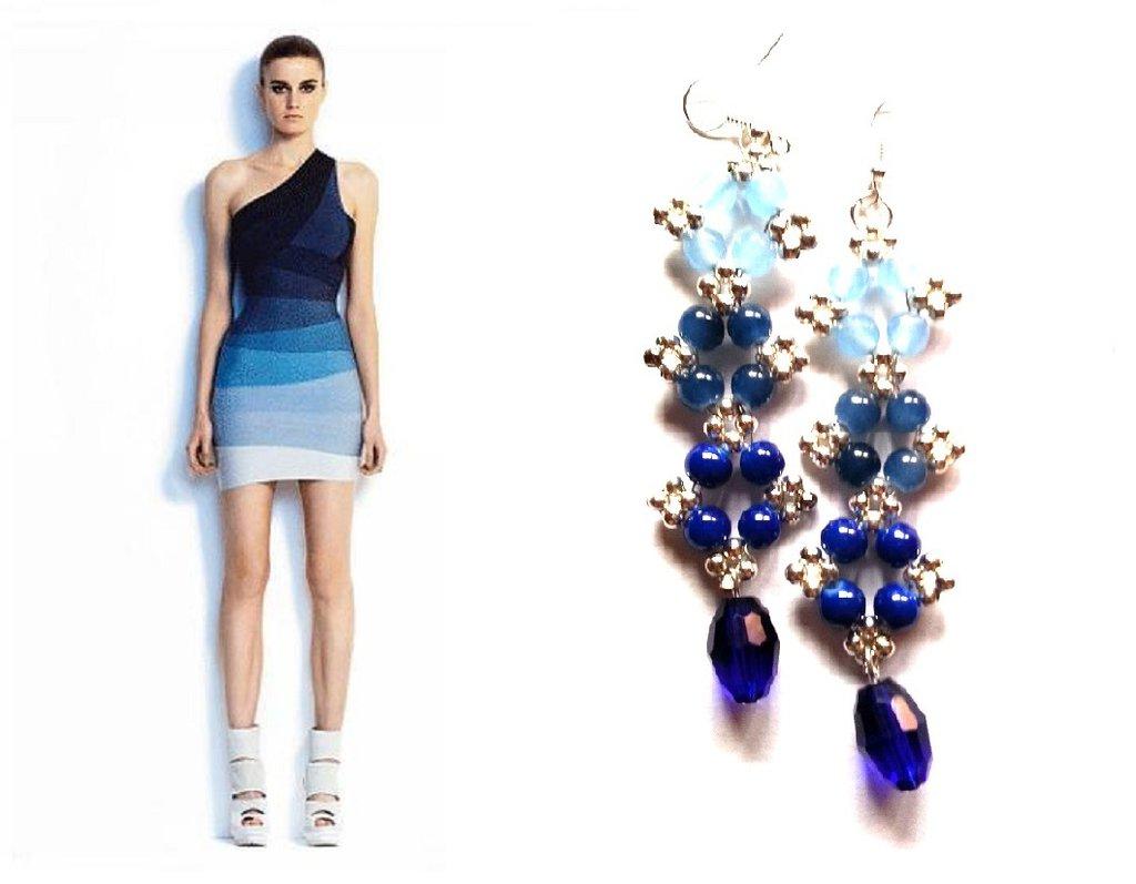 "Orecchini ""Starry ombre blue"" agata azzurra, blu ed elementi argentati"